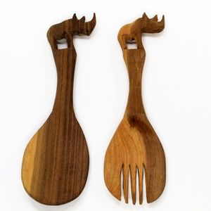 Wooden Hand Carved Rhino Serving Spoon & Fork Set
